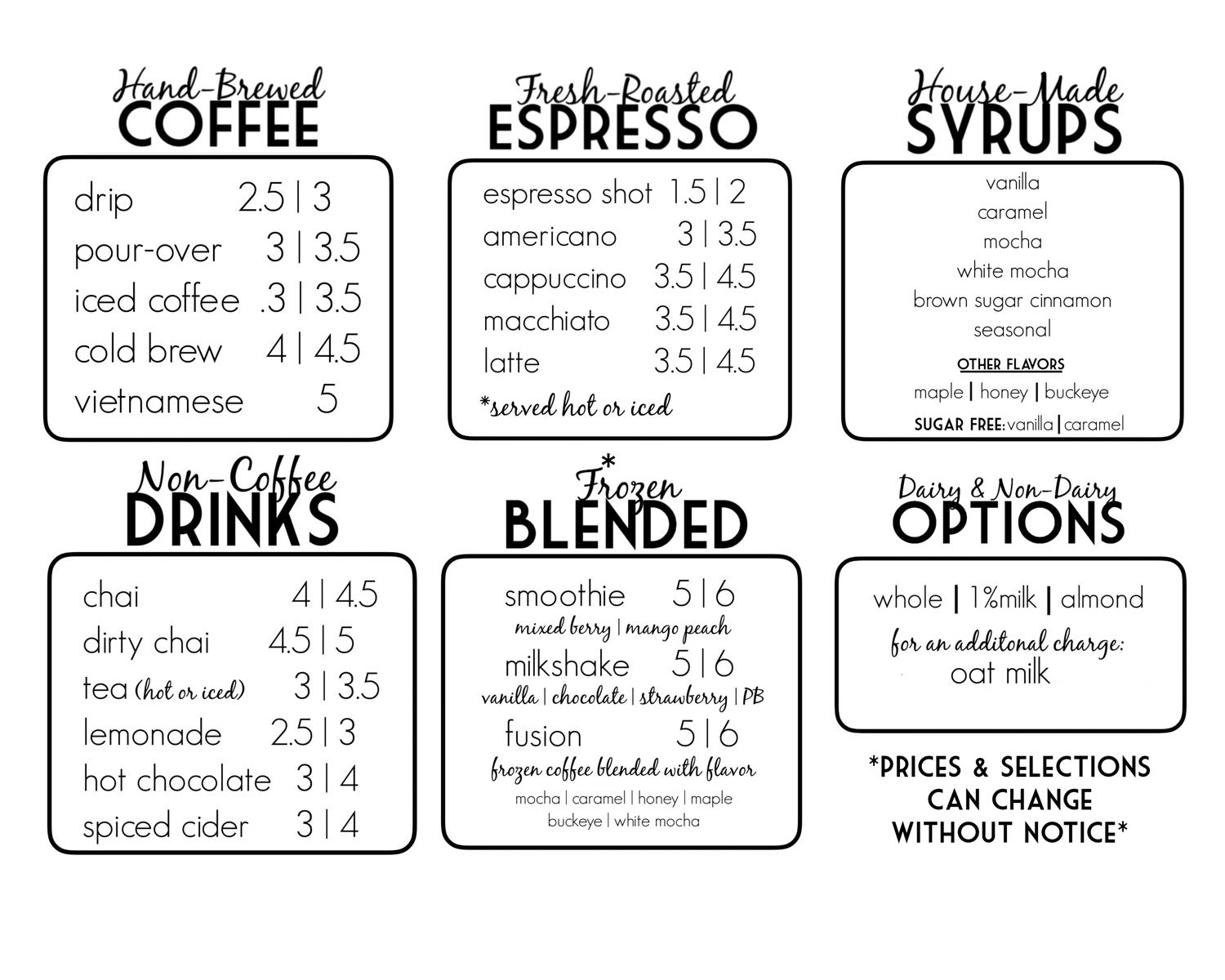 coffee connections menu